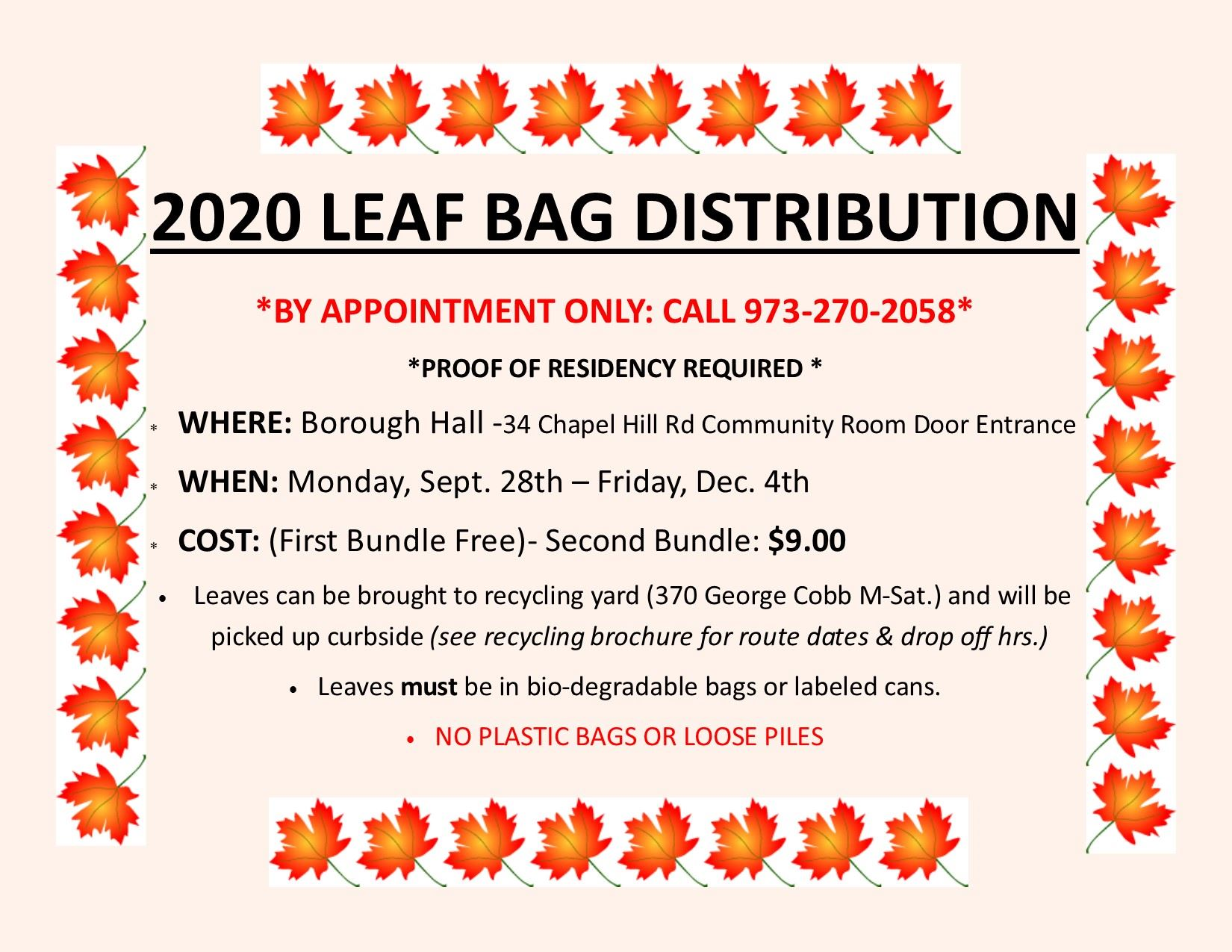 2020 LEAF BAG COLLECTION FLYER